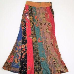 JiPata M Patchwork Floral Long Maxi Skirt Hippie